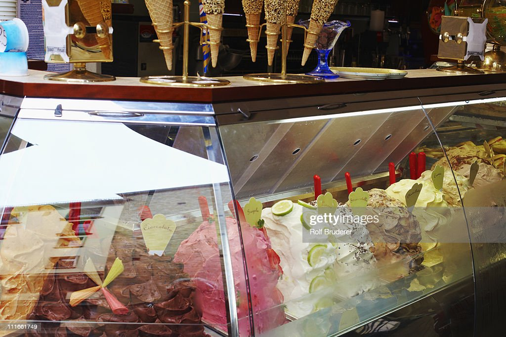 Italian gelato in display case : Stock Photo