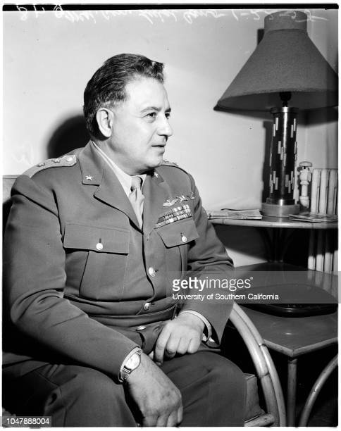 Italian General arrival 22 January 1958 Major General Luigi Cano Massimo Casilli d'Aragona William R Shanahan Caption card reads 'Photographer...