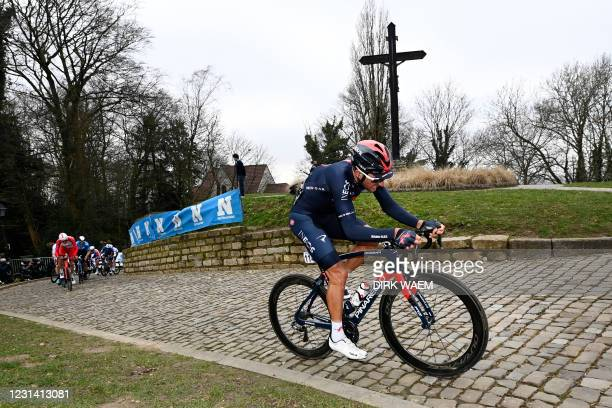 Italian Gianni Moscon of Ineos Grenadiers pictured in action during the men's elite race of the 'Omloop Het Nieuwsblad' one-day cycling race, 201km...