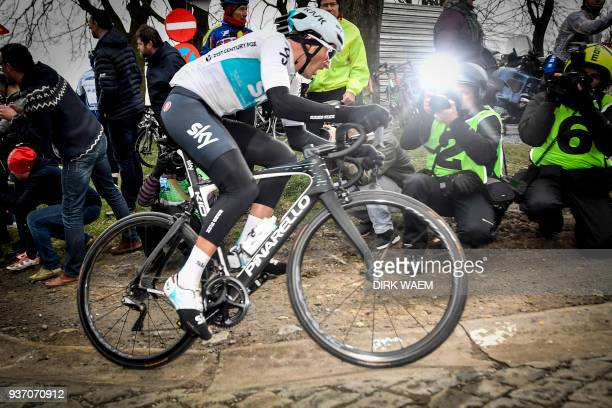 Italian Gianni Moscon of Team Sky cycles past photographers during the 61st edition of the 'E3 Prijs Vlaanderen Harelbeke' cycling race5 km from and...