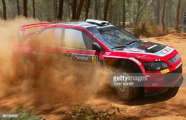 Italian Gigi Galli manouvres around a tight corner during the final stages of the World Rally at Mundaring in perth and finished fifth behind winner...