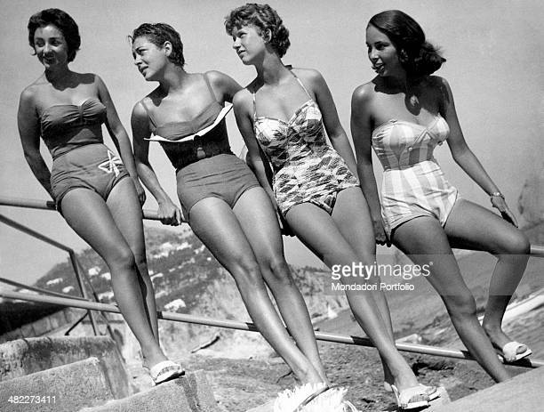 Italian girl Roberta Cantalupo Haitian girl Manyce Haraque Italian girl Maria Cristina Papa and Italian girl Diana De Feo posing in swimsuit on a...