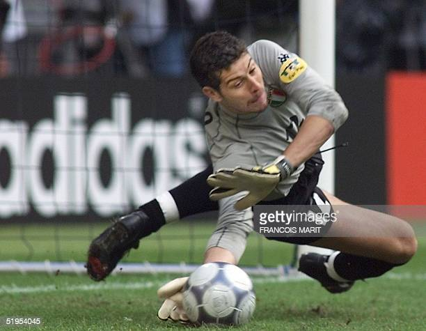 Italian goalkeeper Francesco Toldo jubilates after stopping a penalty kick from Dutch defender Paul Bosvelt during the shootout at the end of the...