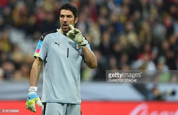 Italian goalkeeper Gianliugi Buffon reacts during the friendly football match between Germany and Italy in the stadium in Munich southern Germany on...