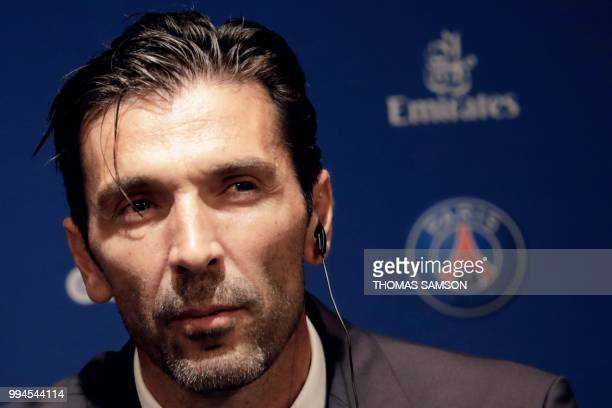 Italian goalkeeper Gianluigi Buffon attends a press conference on July 9 2018 at the Parc des Princes stadium in Paris after French Ligue 1 football...
