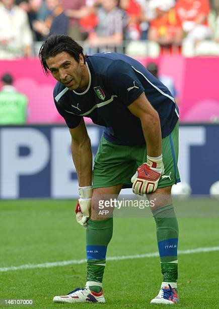 Italian goalkeeper Gianluigi Buffon gestures prior to the Euro 2012 championships football match Spain vs Italy on June 10 2012 at the Gdansk Arena...