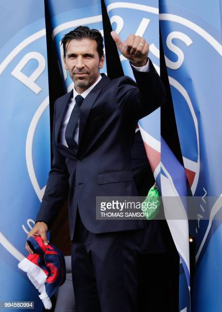 Italian goalkeeper Gianluigi Buffon poses for the press on July 9 2018 at the Parc des Princes stadium in Paris after French Ligue 1 football...