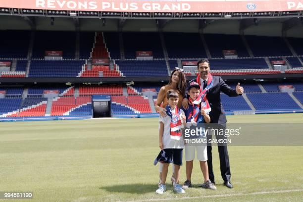 Italian goalkeeper Gianluigi Buffon poses for the press with his wife Alena Seredova and sons David Lee Buffon and Louis Thomas Buffon on July 9,...