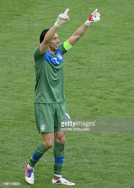 Italian goalkeeper Gianluigi Buffon reacts after a scoring during the Euro 2012 championships football match Spain vs Italy on June 10 2012 at the...