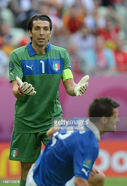Italian goalkeeper Gianluigi Buffon reacts during the Euro 2012 championships football match Spain vs Italy on June 10 2012 at the Gdansk Arena AFP...