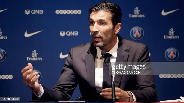 Italian goalkeeper Gianluigi Buffon speaks during a press conference on July 9 2018 at the Parc des Princes stadium in Paris after French Ligue 1...