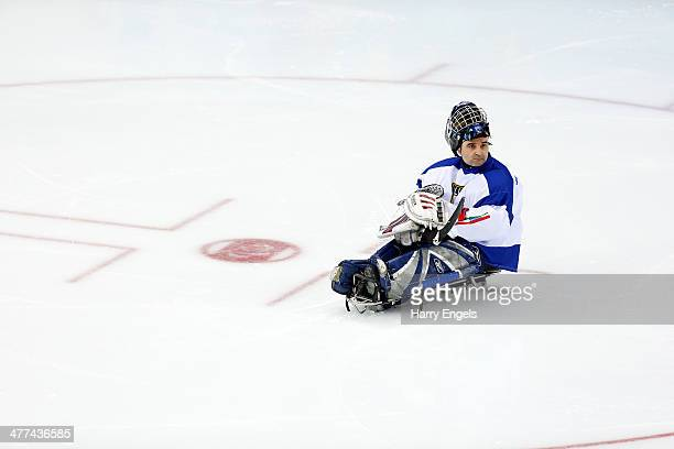 Italian goalkeeper Santino Stillitano looks dejected after conceding the fourth goal during the Ice Sledge Hockey Preliminary Round Group B match...