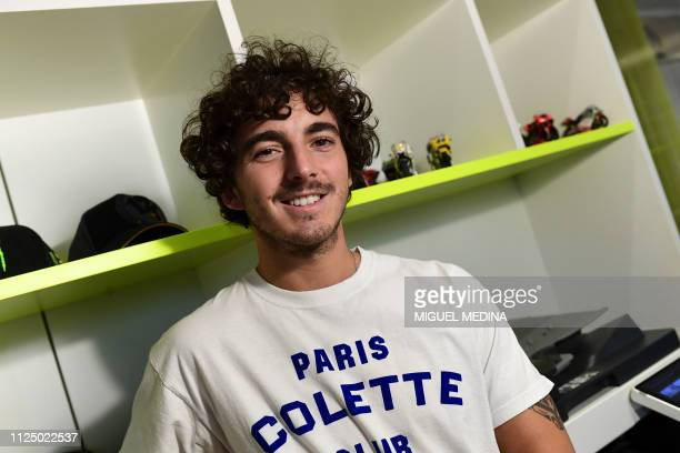 Italian Grand Prix motorcycle racer Francesco Bagnaia poses at the headquarters of the Valentino Rossi Academy in Tavullia on January 29 2019 Member...