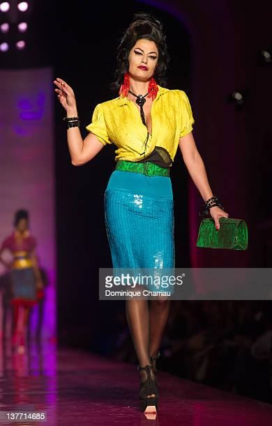 Italian greek actress Dorotea Mercuri walks the runway during the Jean Paul Gaultier Spring/Summer 2012 HauteCouture Show as part of Paris Fashion...