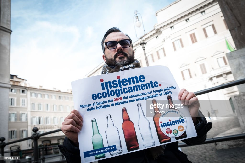 Italian Green party supporter attends a conference on January 12, 2018 at Piazza Montecitorio in Rome, Italy to call for a ban from 2020 on the sale of 100% non biodegradable plastic bottles in public places.