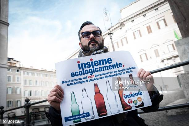 Italian Green party supporter attends a conference on January 12 2018 at Piazza Montecitorio in Rome Italy to call for a ban from 2020 on the sale of...