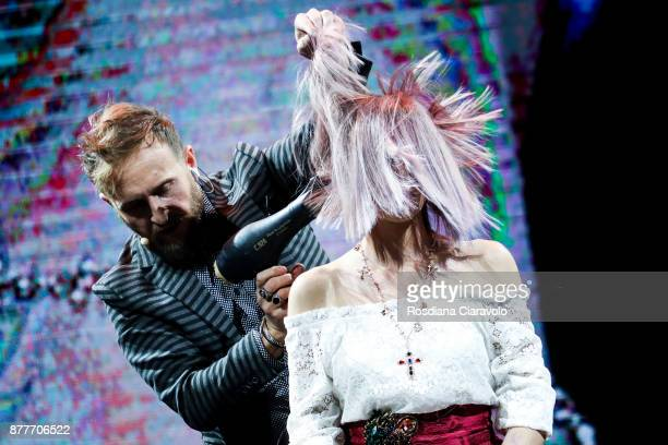 Italian Hairstylist and Hair Influencer Genny D'Auria is seen during the Alfaparf Milano Be Italian by Genny DÕAuria show at On Hair By Cosmoprof...