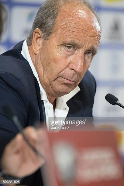 Italian Head Coach Giampiero Ventura speaks to media during a press conference at the Sammy Ofer Stadium in Haifa, in northern Israel, on September...