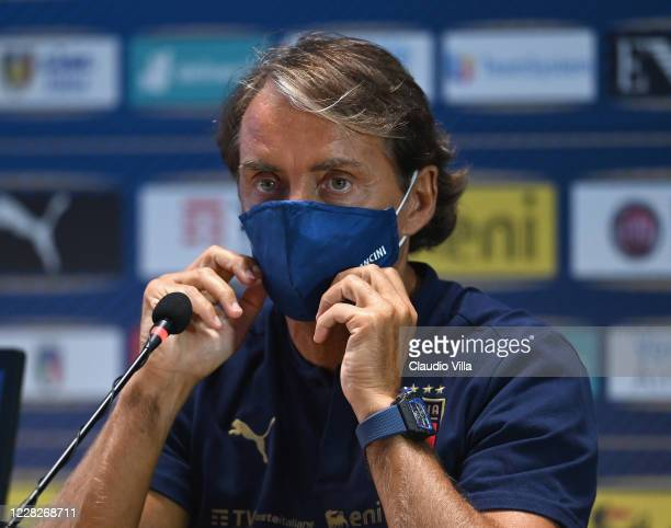 Italian Head Coach Roberto Mancini speaks with the media during a press confrence at Centro Tecnico Federale di Coverciano on August 30, 2020 in...