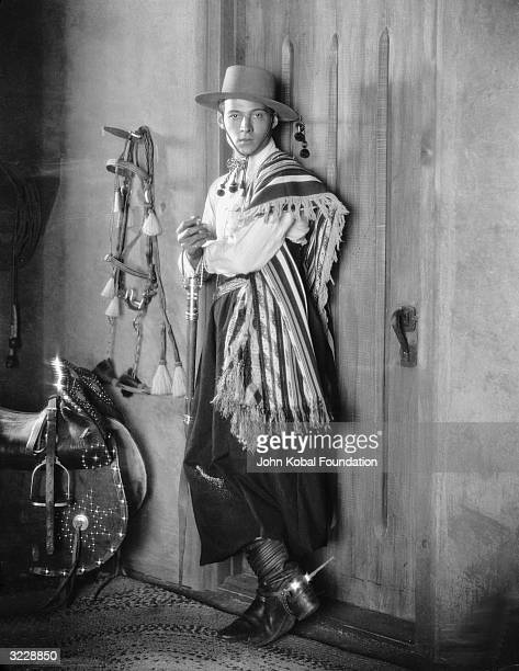 Italian heartthrob Rudolph Valentino wearing a gaucho costume complete with spurs for his famous tango scene as Julio in Rex Ingram's 'Four Horsemen...