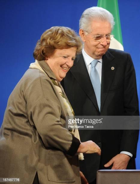 Italian Home Affairs Minister Anna Maria Cancellieri and Italian Prime Minister Mario Monti France Francois attend Italian Summit at prefecture...