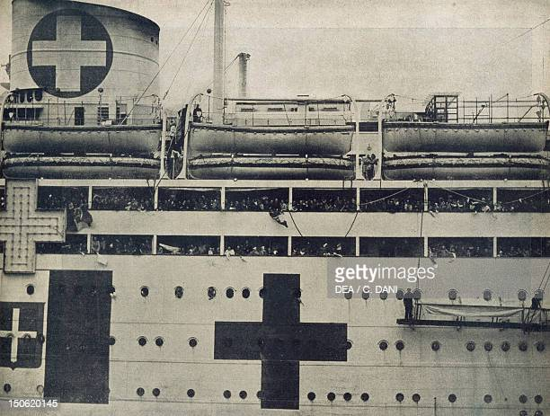 Italian hospital ship loaded with wounded returning from North Africa image from Illustrazione italiana magazine June 15 1941 World War II Italy 20th...