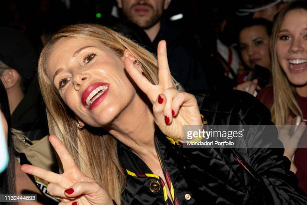 italian host Alessia Marcuzzi arrives at the Versace show of Milan Fashion Week Woman F/W 19 Milan February 22nd 2019