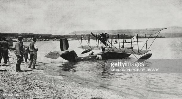 Italian hydroplane on Lake Garda Italy World War I from L'Illustrazione Italiana Year XLII No 49 December 5 1915