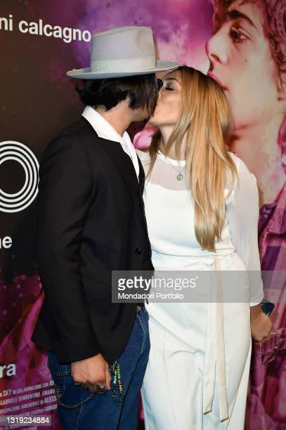 Italian imitator and presenter Francesca Manzini with her partner Marco Scimìa at the preview of the Morrison film at Cinema Adriano. Rome , May...