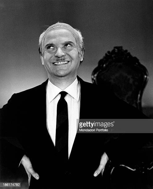 Italian impersonator and showman Alighiero Noschese impersonating Italian politician and President of the Council of Ministers Amintore Fanfani Italy...