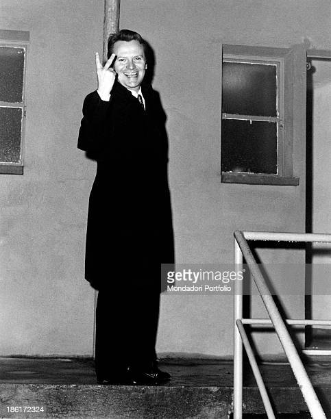 Italian impersonator and showman Alighiero Noschese smiling and making the V sign with his fingers Milan 1970
