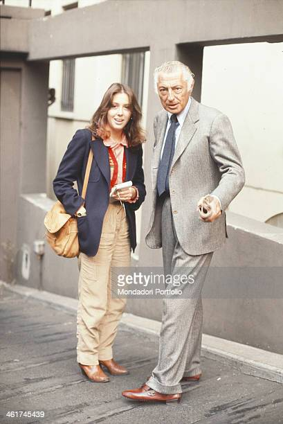 Italian industrialist and chairman of FIAT Gianni Agnelli posing with Italian showgirl Sabina Ciuffini Italy 1977