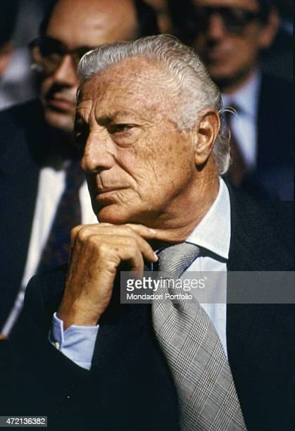 'Italian industrialist and politician Gianni Agnelli president of FIAT attending a meeting 1980s '