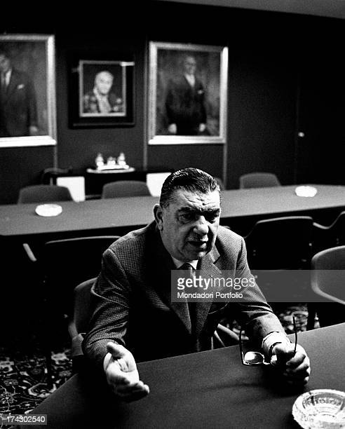 Italian industrialist Giovanni Borghi sitting in his office and speaking Varese 1966