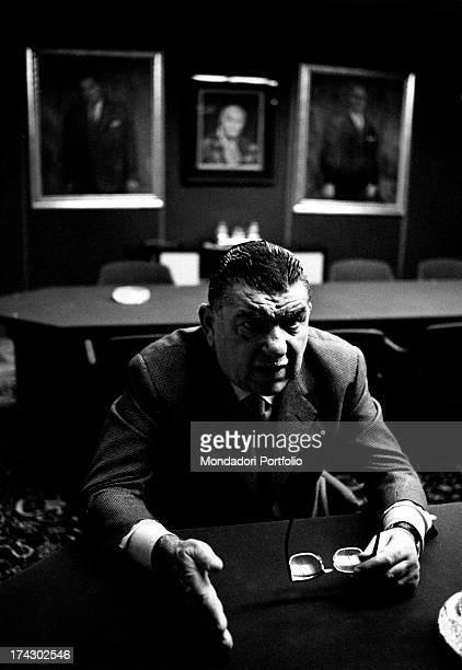 Italian industrialist Giovanni Borghi speaking in his office Varese 1966