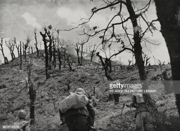 Italian infantry advancing at an altitude of 731 during the battle against Greek forces in March 1941 Albania World War II from L'Illustrazione...