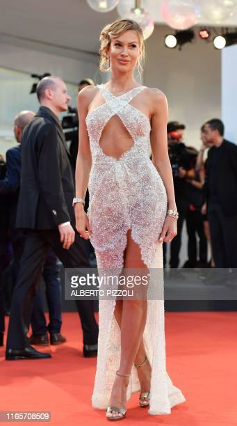 """Italian influencer Taylor Mega arrives for the screening of the film """"Martin Eden"""" presented in competition on September 2, 2019 during the 76th..."""