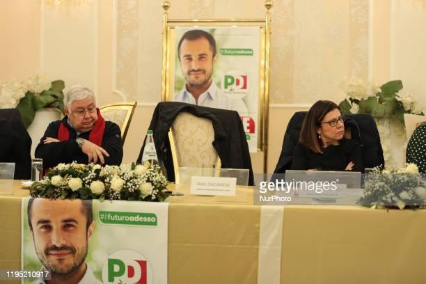 Italian Infrastructure Minister Paola De Micheli and PD candidate for the Calabria Region Pippo Callipo in Corigliano Rossano on January 20 2020 in...