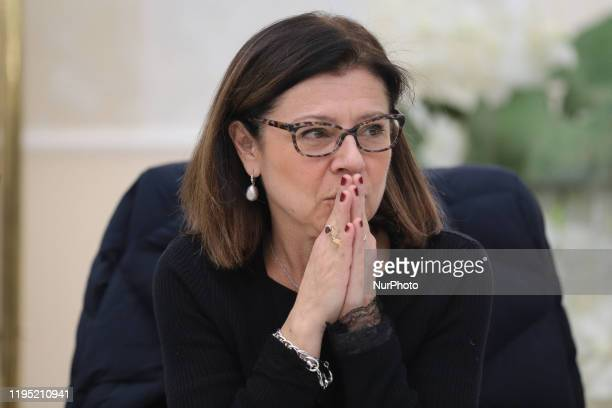 Italian Infrastructure Minister Paola De Micheli during her speech in Corigliano Rossano on January 20 2020 in view of the Regional Elections to be...