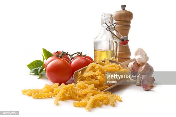 Italian Ingredients: Fusilli, Tomato, Garlic, Basil, Olive Oil and Pepper