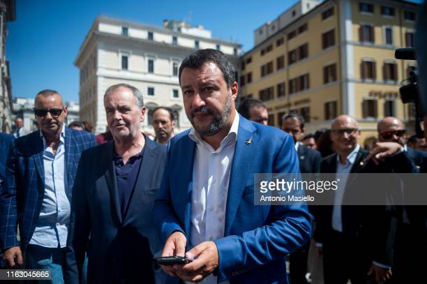Italian Interior Minister and deputy Prime Minister Matteo Salvini holds a press conference after a meeting with party members, on August 21, 2019 in...