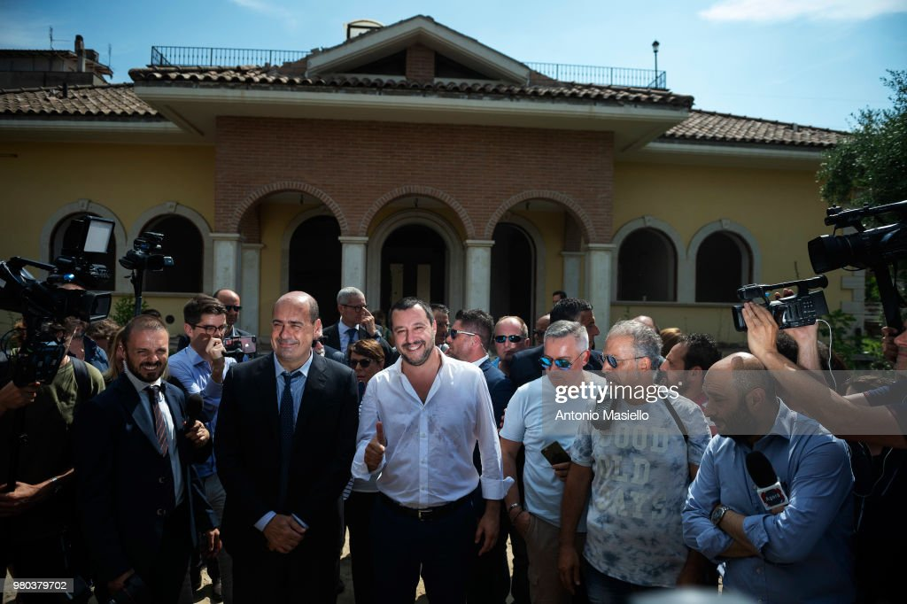 Italian Interior Minister Matteo Salvini (C) and President of Lazio region, Nicola Zingaretti visit a house confiscated from Casamonica clan for Mafia crimes on June 21, 2018 in Rome, Italy. In recent days Casamonica members threatened Interior Minister Matteo Salvini, after announcing that he wanted to make a census of the Roma community.