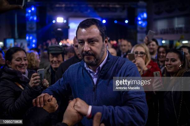 Italian Interior Minister Matteo Salvini attends a political convention for the closure of the upcoming regional election in Abruzzo on February 7...