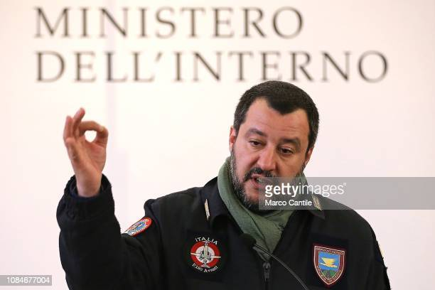 Italian Interior Minister Matteo Salvini during a press conference in the city of Afragola near Naples