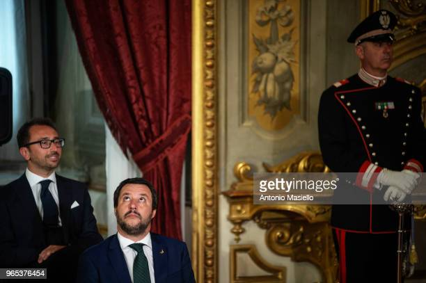 Italian Interior ministry and Deputy Prime Minister Matteo Salvini wait for the swearingin ceremony at the Quirinal palace on June 1 2018 in Rome...