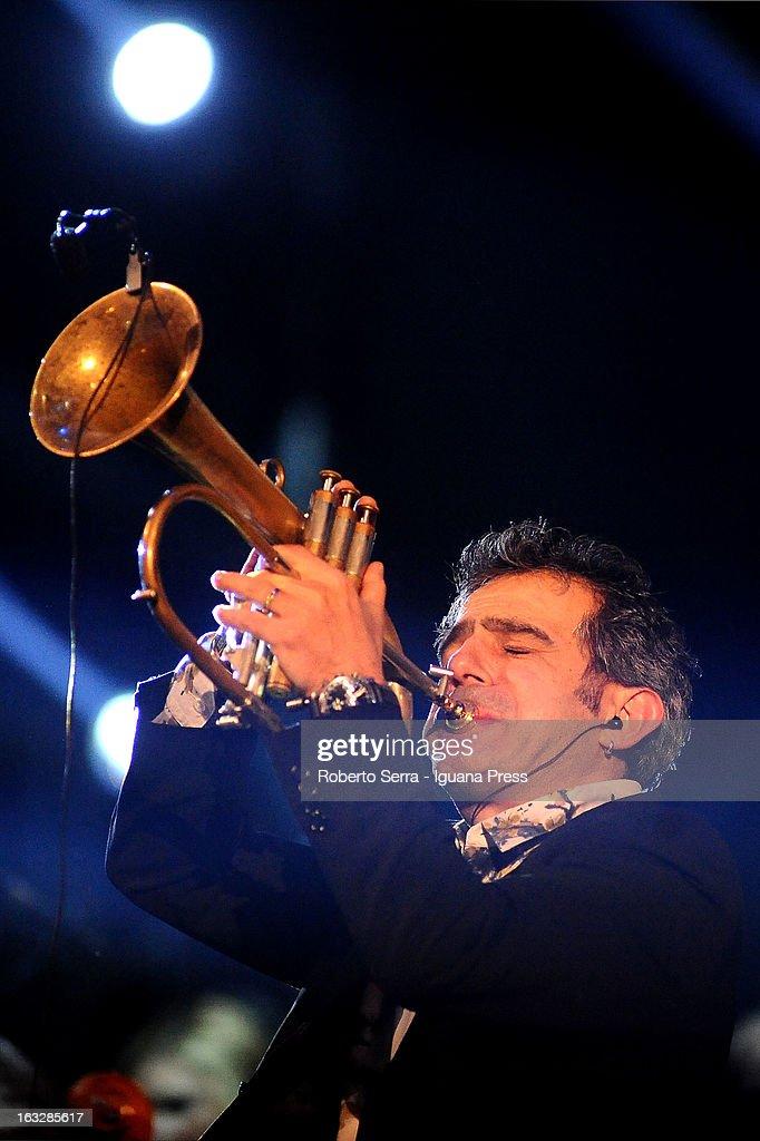 Italian jazz player Paolo Fresu performs the Lucio Dalla Tribute at Piazza Maggiore on March 4, 2013 in Bologna, Italy.