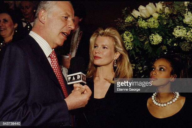 Italian jeweler and luxury goods retailer Paolo Bulgari Actress Kim Basinger and Brandi on the set of the film PrêtàPorter directed by American...