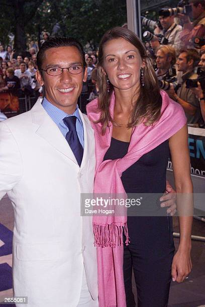 Italian jockey Frankie Detori and his wife attend the film premiere of Gone in 60 Seconds on July 26 2000 in London