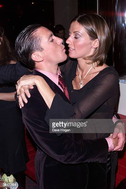 Italian jockey Frankie Dettori and his wife attend the party for the film Mean Machine on December 18 2001 in London