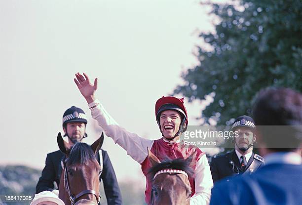 Italian jockey Lanfranco 'Frankie' Dettori wins the St Leger Stakes in Doncaster circa 1996